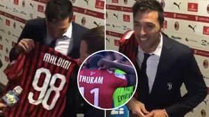Gianluigi Buffon Adds Daniel Maldini's Shirt To Impressive Collection
