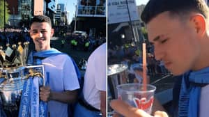 Manchester City Players Are Steaming At Bus Parade, Phil Foden Is On The Vimto