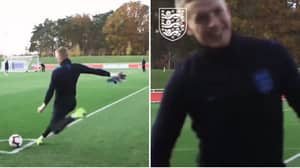 Jordan Pickford Curls In A Glorious Strike From A Corner In England Training