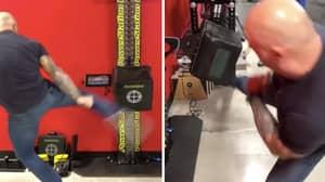 Joe Rogan Uses Ridiculously Powerful Kicks To Break Francis Ngannou's PowerKube Record