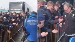 Leeds Manager Marcelo Bielsa Hands Out Sweets To Kids Waiting For Team Bus