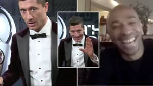 Robert Lewandowski Was Blown Away After Being Surprised By His Idol Thierry Henry At Awards Ceremony