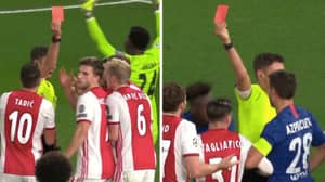 Ajax Have Both Centre Backs Sent Off In The Space Of 60 Seconds Against Chelsea