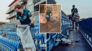 Sebastian Vettel Stayed Behind After British Grand Prix To Help Clear Litter From Stands