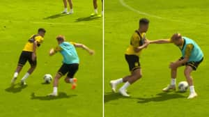 Jadon Sancho Absolutely Ruins His Teammate Then Nutmegs Another During Borussia Dortmund Training Drill