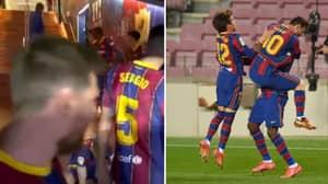 Barcelona Captain Lionel Messi Gave An Inspiring Speech At Half Time