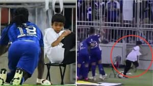 Bafetimbi Gomis Scares The Living Daylights Out Of Ballboy With 'Panther Walk' Celebration