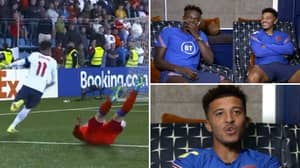 Jadon Sancho's Reaction To Race Against 41-Year-Old Andorra Defender Ildefons Lima Is Priceless