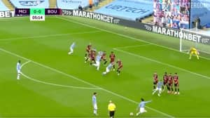 David Silva Curls In Stunning Free-Kick Against Bournemouth