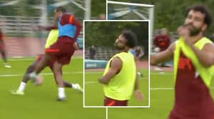 Mo Salah Threw His Hands In The Air In Disgust After Seeing Joel Matip Score In Training