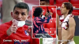 Footage Shows Real Madrid And Atletico Madrid Players Reacting To Each Other's Live Scores