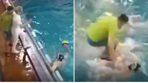 Crazy Underwater Brawl Ensues After Water Polo Coach Does Khabib 'Eagle Jump' Into Pool