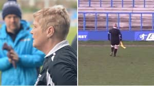 Linesman Gets Injured In 27th Minute, Of Curzon Ashton vs Alfreton Town, Kit-Lady Fills In