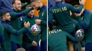 The Italy Players Lifted up Lorenzo Insigne So He Could Slap Gianluigi Donnarumma And It's A Violation