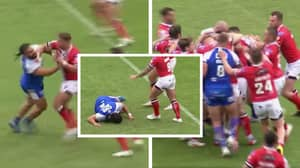 Former NRL Player Konrad Hurrell Gets Knocked Out In Super League 'Mass Brawl'