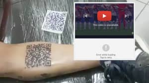 River Plate Fan's 'QR Code' Tattoo Is Now Useless After YouTube Remove Video For Copyright Issues