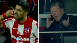 Luis Suarez Celebrates Goal Against Former Club Barcelona With Phone Gesture To Ronald Koeman