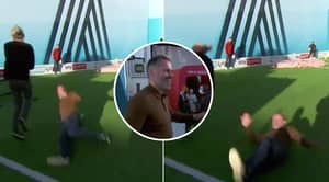 Jamie Carragher Nails Jimmy Bullard With Crunching Tackle During Soccer AM Shooting Challenge