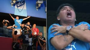 Diego Maradona Went Absolutely Mad From The Stands After Lionel Messi's Goal