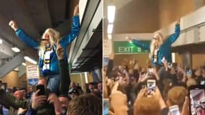 "Leeds Fan Dressed As Jimmy Saville Sparks Controversy After Singing ""He's One Of Our Own"" Chant"