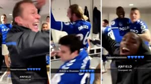 Footage From Inside Everton's Dressing Room At Anfield Has Emerged Online
