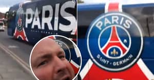 Manchester United Super-Fan Hilariously Greets PSG Team Bus Before Man City Clash