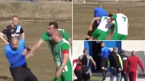 A Referee Has Been Chased Off The Pitch By Players And Other Officials And The Footage Is Unbelievable