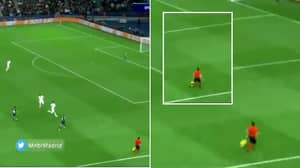 Champions League Linesman Was So Focused On Lionel Messi's Dribble He Hilariously Ran Onto The Pitch