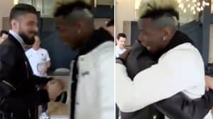 Olivier Giroud's Reaction To Paul Pogba's New Hairstyle Is Priceless