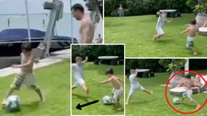 Mateo Messi Shows Shades Of Lionel Messi With 'Baller' Skills In Piggy In The Middle Game