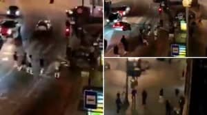 Shocking Video Shows Man City And Chelsea Fans Fighting With Each Other And Police In Porto