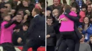 Duncan Ferguson Celebrates With Ball Boys As Everton Win