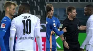 Monchengladbach's Marcus Thuram Sent Off For Spitting At Hoffenheim Player