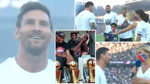 Lionel Messi Introduced To PSG Fans At Parc Des Princes With Chicago Bulls' Iconic Theme Song