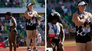 Olympic Hammer Thrower Gwen Berry Turns Away From US Flag During National Anthem