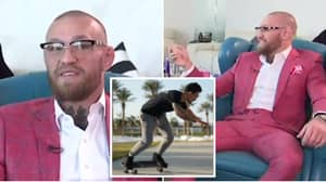 Conor McGregor's Interview Hilariously Interrupted By Max Holloway Riding On His Skateboard