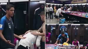 Footage Of Raphael Varane's Speech At Half Time Of The World Cup Final Shows He's A Dressing Room Leader