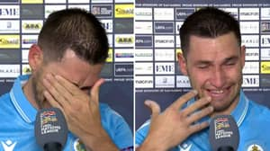 San Marino Player Dante Rossi Bursts Into Tears After They Avoid Defeat For Second Competitive Game In A Row