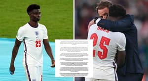 Bukayo Saka Shares Emotional Message After Suffering Vile Racist Abuse Following Missed Penalty In England's Euro 2020 Defeat To Italy