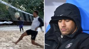 Neymar Spotted Playing Footvolley On A Beach In Brazil