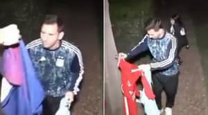 Lionel Messi Shows He's One Of The Good Guys By Signing Shirts For Fans Outside Argentina Home