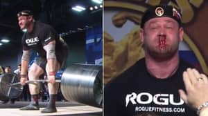The Moment Weightlifter Bleeds From Nose During 67 Stone Deadlift