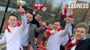 Five-A-Side Team Celebrate Unbeaten Season With Open-Topped Bus Tour Around Cardiff
