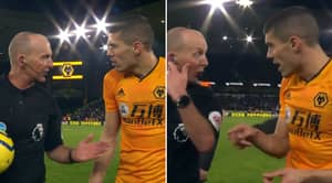 Conor Coady Confronts Referee Mike Dean At Half-Time After VAR Controversy