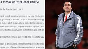 Unai Emery Breaks His Silence After Sacking With Emotional Message To Arsenal Fans