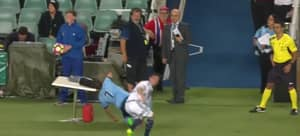 Sydney FC Player Faceplants Table In Melbourne Victory Clash