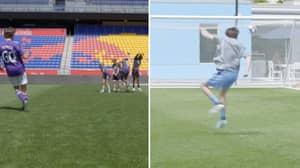 'Average Joe' Attempts To Score Free Kick Past Professional Goalkeeper