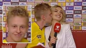 Beaming Manchester City Starlet Oleksandr Zinchenko Kisses Reporter After Ukraine's Win