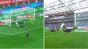 Russian Defender Evgeni Chernov Makes Greatest Goal Line Clearance Ever