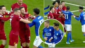 There Was A Huge Bust Up Between Liverpool And Leicester Players At Full-Time